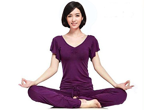 fibra de bambú ropa de yoga 95% superior al desgaste de las senoras de ropa deportiva fitness y baile conjunto inferior de 2 colores del anime del traje ? ? (L tamano, de color púrpura)