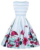 ZAFUL Damen Retro Elegante Cocktailkleider 50er Jahre Hepburn Ärmellos Abendkleid Swing Kleider-Blau Flamingo-XXX-Large