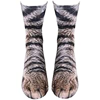 Qlans Qlans 3D Animal Paw Printed Socks,Casual Style Cotton Socks for Men Women