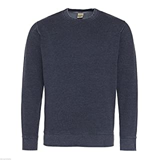Absab Ltd AWDis Washed Men's Sweatshirt Adult Long Sleeve Lightweight Soft Sweatshirt Boys Crew Round Neck Jumper Mens Casual Plain Blank Sweat Jumper Top New French M
