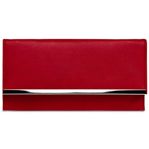 (CASPAR TA393 elegante Damen Envelope Clutch Tasche Abendtasche, Farbe:rot, Größe:One Size)