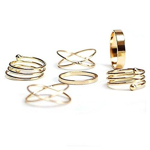 Anillo - SODIAL(R)6pcs anillos espirales de friccion Cruz de moda de seis piezas de oro