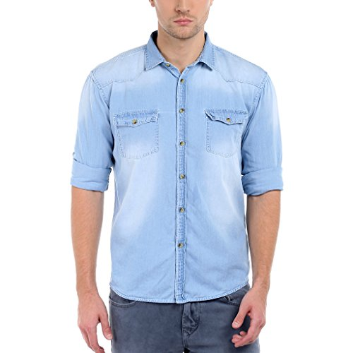 Dennis Lingo Men's Denim Light Blue Solid Casual Shirt C501_LIGHTBLUE_L
