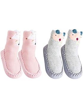 Unisex-Baby Socken Hüttenschuh Söckchen Mit Ledersohle Anti-Rutschsohle