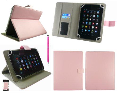 Emartbuy® AlpenTab 7 Zoll Tablet PC Universalbereich Baby Rosa Multi Winkel Folio Executive Case Cover Wallet Hülle Schutzhülle mit Kartensteckplätze + Hot Rosa 2 in 1 Eingabestift