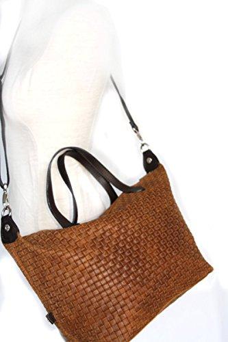 Borse in pelle, taglia media tote bag intrecciata mod. 2036 (34 / 26 / 15 cm) Italia Marrone