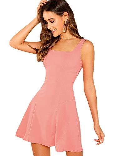 DIDK Damen Ärmellos Kleider Camisole Minikleider Einfarbig A Linie Sommerkleid Elegant Casual Freizeitkleid Strandkleid Ballonkleid Pink S