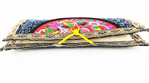 Vovotrade Donne Etnica ricamato Wristlet Pochette Handmade borsa del portafoglio (nero) rosso