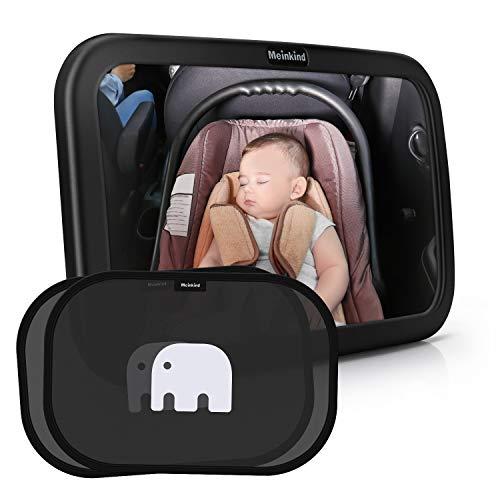 Meinkind Auto Rücksitzspiegel mit Sonnenschutz(2 Stücke) für Babys, großer Baby Autospiegel (30cmx19cm), Selbsthaftende UV Sonnenblenden auto für kinder(Schwarz)