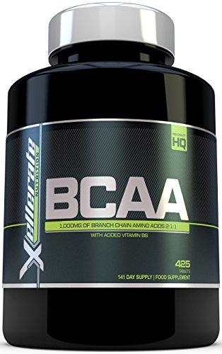 BCAA Comprimido 1000 mg - 425 Comprimidos - 3000 mg Dosis Diaria - Suministro para 141 Días - 2:1:1 Suplemento de Aminoácidos De Cadena Ramificada con Vitamina B6 añadida - BCAA Fabricado en el Reino Unido - Los Ingredientes Incluyen L-Leucina, L-Isoleucina, L-Valina y Vitamina B6 por Xellerate Nutrition