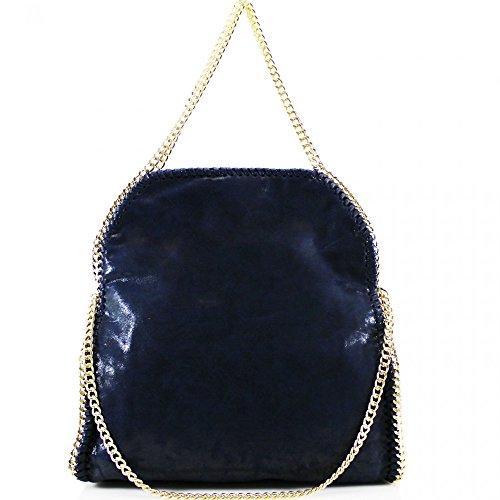 LeahWard® Damen Groß Kette Tote Foldable Weich Handtaschen Schultertasche Groß Tasche Marine H64cm x W40cm x D13cm