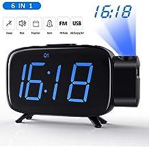 Tinzzi [Nueva Versión] Despertador Proyector, Radio Despertador con Alarmas Duales/Reloj Digital