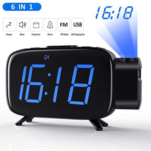 Tinzzi [Nueva Versión] Despertador Proyector, Radio Despertador con Alarmas Duales/Reloj...
