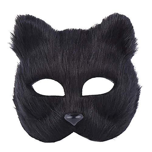 JIAENY Halloween-Maske,Masken Neue Halloween Maske Half Face Fox Head Neuheit Mask Maskerade Halloween Kostüm - Für Frauen - Black Fox Kostüm