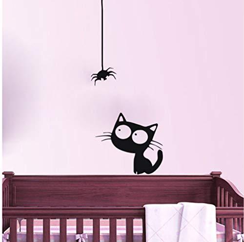Myvovo Niedliche Kätzchen Beobachten Eine Spinne Wandaufkleber Baby Zimmer Vinyl Abnehmbare Wandtattoos Wasserdichte Kunst Aufkleber Home Decor 141 * 59Cm (Kleine Kätzchen Beobachten)