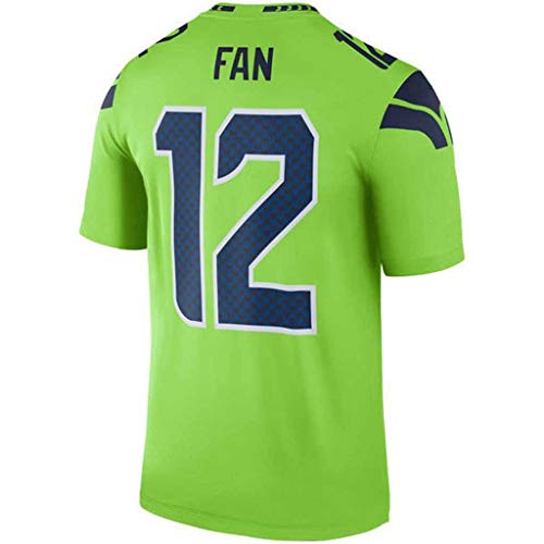 YMXBK T-Shirt NFL Jersey Seattle Seahawks Fans Version der Stickerei Football Wear Kurzarm Sport Top,12-Green,L
