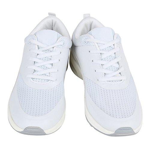 Damen Herren Sportschuhe Runners Laufschuhe Sneakers Neon Weiss Weiss
