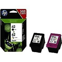 HP 62 N9J71AE pack de 2, cartouches d'encre Authentique, imprimantes HP OfficeJet et HP ENVY, Noir et trois couleurs (Cyan, Magenta et Jaune)