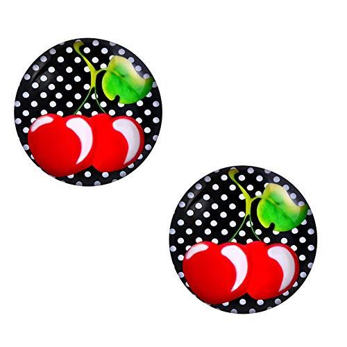Ohrstecker Polka Dot Weiß Schwarze Punkte – Rockabilly Ohrringe für Damen Ø 10mm Edelstahl - 4