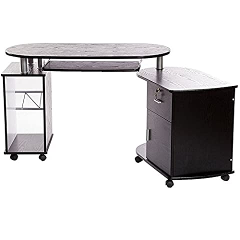 Charles Jacobs Wooden Folding Corner Compact Computer Desk in Black Finish with Keyboard Shelf, Drawer & Cabinet Storage, PC Home Furniture / Office Workstation by Charles