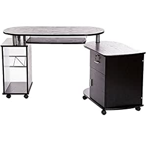 Charles Jacobs Wooden Folding Corner Compact Computer Desk In Black Finish With Keyboard Shelf