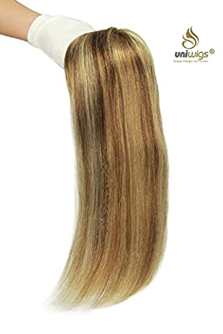 Uniwigs® Remy Human Hair Mono Hairpiece, Hair Topper, Straight 16 Inches, Add Hair Volume Instantly for Hair Loss
