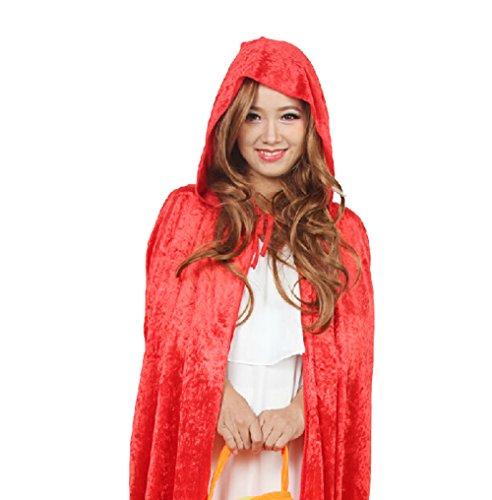 DELEY Damen Red Riding Hood Samt Umhang Maskerade Cosplay Umhang Kostüm (Hood Riding Kostüm Red Cosplay)