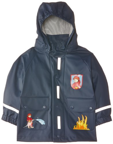 Playshoes Baby - Jungen Regenbekleidung 408590 Regenjacke Feuerwehr mit Reflektoren, Oeko-Tex Standard 100, Gr. 80, Blau (original)