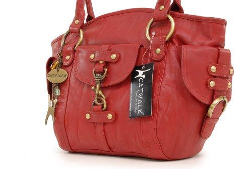 """Lederhandtasche """"Karlie"""" von Catwalk Collection - GRÖßE: B: 37 H: 25 T: 15 cm Rot"""
