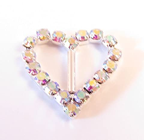 Diamante Heart AB Rainbow Effect Rhinestone Crystal Buckle Ribbon Sliders Embellishment Wedding x 10