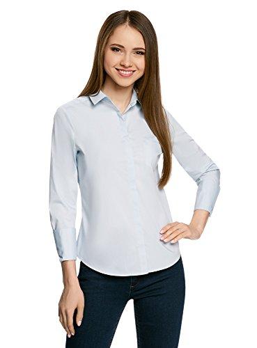 oodji Ultra Damen Hemd Basic mit Einer Tasche, Blau, DE 36/EU 38/S