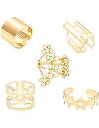 Memoir Gold Plated CZ Flower Design Five Rings For Five Fingers Rings Combo Jewellery For Women