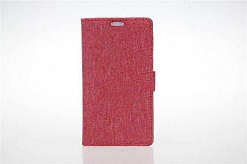 LG L Fino D295 Hülle,LG L Fino D295 Tasche,LG L Fino D295 Schutzhülle,LG L Fino D295 Hülle Case,LG L Fino D295 Leder Cover,Cozy hut [Burlap - Muster-Mappen-Kasten] echten Premium Leinwand Flip Folio Denim Abdeckungs-Fall, Slim Case mit Ständer Funktion und Identifikation-Kreditkarte Slots für LG L Fino D290N/D295 (4,5 Zoll) - Rote