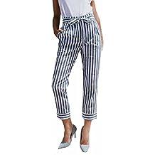 Pantalones Mujer LuckyGirls Verano Rayas Cintura Alta Casual Moda Correa de Leggings (L