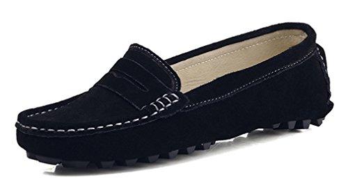 KOUDYEN Damen Mokassin Wildleder Loafers Schuhe Flache Fahren Halbschuhe Slippers,XZ482-Black-EU40 (Mokassin Schuhe Loafer)