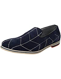 100% Genuine Suede Leather Loafers Shoes For Men And Boys In Blue Color By Mose