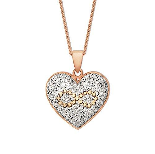 NOELANI Damen-Kette 42+3cm rosévergoldet mit Anhänger Herz Infinity veredelt mit Kristallen von Swarovski