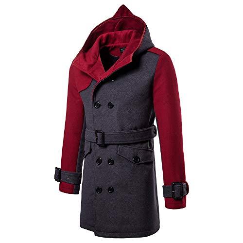(Amphia - Herren Kapuzenjacke - Slim/Double Color - Trenchcoat in mittlerer Länge, Männlich Herbst Winter Packwork Jacke Tasche Hoodie Langen Knopf Mantel Mäntel(rot,M))