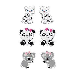 FIVE-D Set aus 3 Paar Kinder Ohrringen Pandabär Koala und Kleiner Löwe aus 925 Silber im Geschenketui