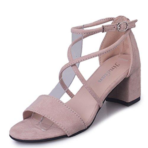 Mode coréenne Joker shoes/loisirs daim à talons hauts sandales B