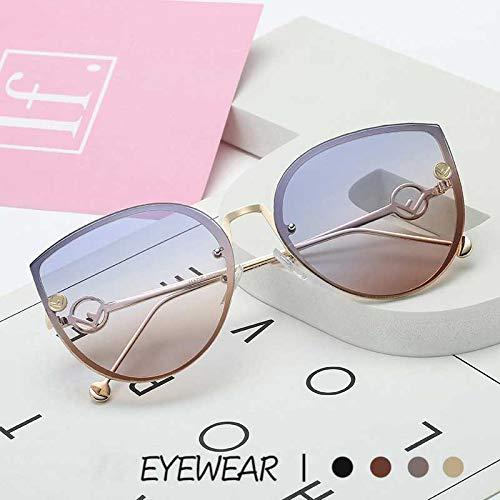 LKVNHP Vintage cat Eye Sonnenbrille Frauen Marke Retro randlose gradienten Sonnenbrille männer Damen Shades Eyewear oculos de sol uv400blau gelb