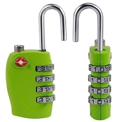 2 x TSA Security Padlock - 4-dial Combination Travel Suitcase Luggage Bag Code Lock (GREEN) - LIFETIME WARRANTY - cheap UK light shop.