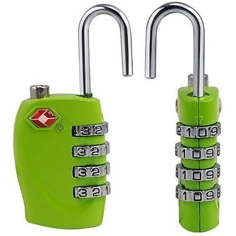 2x TSA Candado–4-dial combinación maletas bolsa de equipaje código de bloqueo de seguridad (verde)–Garantía de por vida