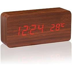 CAHAYA Reloj Digital, Reloj Despertador con 3 Alarmas Programables y con Indicador de Temperatura y Sensor de Sonido Diseño Estilo Madera