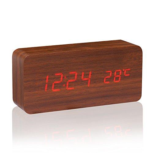 CAHAYA Holz Wecker Digital Rechteck Wecker LED Display Uhr mit Wecker Soundsteuerung Temperatur Anzeige