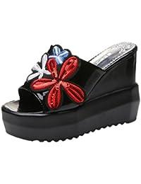OD Ouneed ® Las Mujeres Gruesas de Fondo Inclinado Zapatillas Bordadas Sandalias de Tacón Alto Plataforma Zapatos de Verano