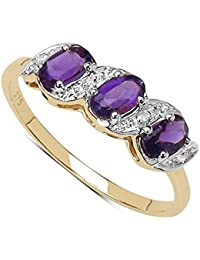 La colección Anillo de Diamantes : 9ct oro amatista y anillo de compromiso del diamante anillo de Eternidad, Dia de la madre, Talla del anillo 6,8,9,10,11,12,13,15,16,17,19,20,21,22,24,25,26