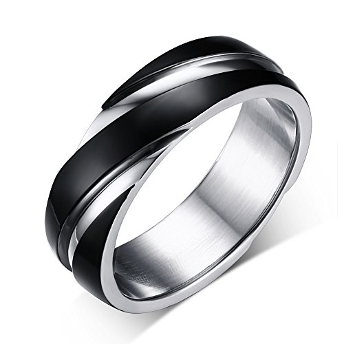 Heyrock 6mm stainless steel wedding bands two-tone grooves engagement rings for men or women