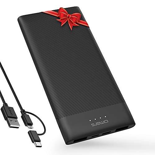 Omars Batería Externa 10000mAh Cargador Portatil Super Ligero 3 Salidas(2 USB&USB C 5 V/3 A) 2 Entradas(Tipo C&Micro USB) para iPhone Samsung y más