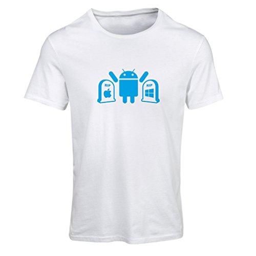 Frauen T-Shirt Der Gewinner ist Android - Geschenk für Tech-Fans (Large Weiß Blau)